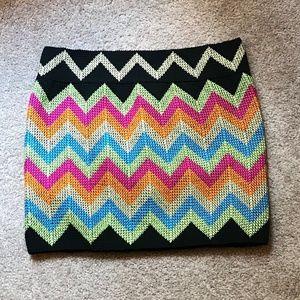 Colorful Knit Mini Skirt